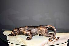 Schwere Deko Figur Panther Skulptur, Farbe Antik- Bronze, Raubkatze, Gusseisen