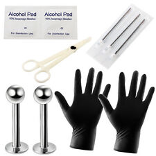 10pcs PRO Body Piercing Kit Lip Rings Scissors Needles Forcep Tool Clamps