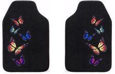 MONARCH BUTTERFLY FRONT FLOOR MATS 2-PC SET BLACK COLOR