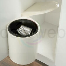 Built in Waste Bin Kitchen Cupboard Storage Under Sink 10L Cream White Plastic