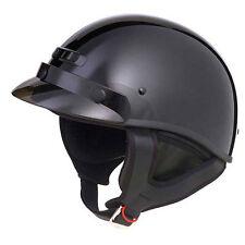 FLAT BLACK MOTORCYCLE CRUISER SHORTY HALF HELMET DOT CRUISER SIZES LARGE MED XL