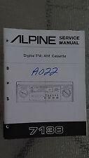 New listing Alpine 7138 Service Manual Original Book car radio tuner cassette tape player