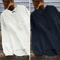 Women Buttons V Neck Casual Long Shirt Tops Loose Cotton Ethnic Oversize Blouse