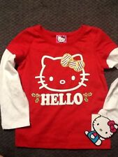 Hello Kitty  long sleeve t shirt Toddler Girl 2T Red & White Holly NWT NEW