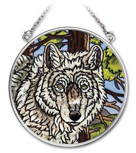 """WOLF Sun Catcher Tree Woods Hand Painted Glass 3 1/2"""" Diameter AMIA Wild Animals"""