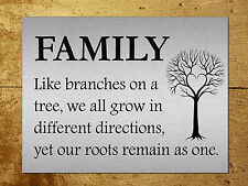 Metal sign Metallic inspirational Family Tree Tin wall door plaque gift
