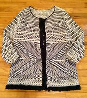 LUCKY BRAND Women's XL Blue White Knit Fringed Poncho Sweater Cardigan Jacket