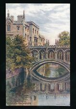 Cambridgeshire CAMBRIDGE Bridge Sighs Artist Quinton c1930/40s? Salmon #1564 PPC