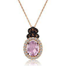 Roberto Ricci Pink Amethyst, White Sapphire&Smokey Quartz Pendant/ 14k Rose Gold