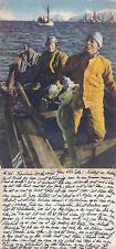 1944 NORWEGIAN FISHERMEN GROUP COLOUR POSTCARD