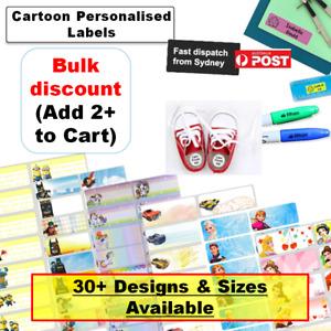 Personalised Vinyl Name Label School sticker cartoon Kids waterproof