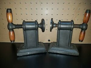 Pair of Restoration Hardware Cast Iron Vise Bookends   Screw Clamp Industrial