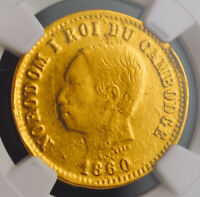 1860, Cambodia, Norodom I. Gold 1 Franc Coin. Rare Presentation Issue! NGC MS61!