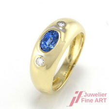 Ring - Saphir ca. 0,50 ct + 2 Brillanten ca. 0,05 ct -14K/585 Gelbgold - Gr. 44