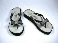 BRIGHTON Thong Sandals Wedge Heel=Black w/ Bow+Rhinestone accent=Woman's size 8
