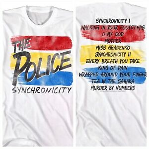 The POLICE T- SHIRT Mens WHITE OFFICIAL SIZES SM - 5XL SYNCHRONICITY TOUR STING
