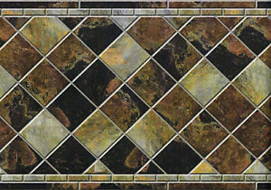 "Diamond Slate Marble Wall Tile 3D Look Peel Stick Vinyl Kitchen Backsplash 11.5"""