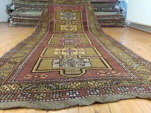 "Late 1900s Antique Wool Pile Armenian Runner Rug 4'9""×12'"