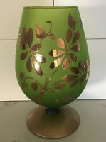 """Rare Glass Vase Frosted Green Hand Painted Gold Floral W/ Wooden Base.8 3/4""""High"""