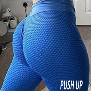 Women High Waist Yoga Pants Leggings Push Up Ruched Sports Gym Workout Booty PV3