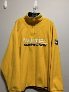 Vintage Nautica Competition 1/4 Zip Spell-out Fleece Pullover Size XL Yellow