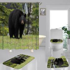 Wild Black Bear Shower Curtain Bath Mat Toilet Cover Rug Bathroom Decor