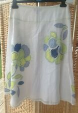 Beautiful Monsoon Skirt Size 8 White With Green Blue Purple Detail Cotton Lined
