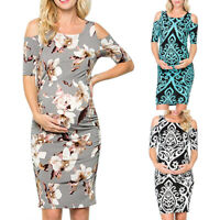 Women's Maternity Dress Pregnant Cold Shoulder Bodycon Floral Short Sleeve Dress