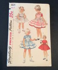 Simplicity Printed Sewing Pattern 1825 Vtg Girls Dress Pinafore Sz 5 Above Knee