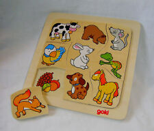 NEW WHO EATS WHAT? CHILDREN'S ANIMAL & FOOD FEEDING 9 PIECE WOODEN PUZZLE GOKI