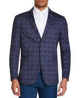 Tallia Mens Blazer Blue Size Medium M Floral Printed Two-Button $198 #047