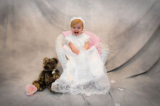 """Tavia"" Satin Christening Gown has YARDS of Fabulous Lace from JennysAngels"