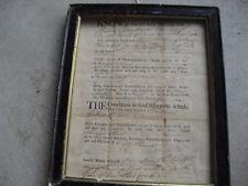Rare Original 1776 Lancaster County Pennsylvania Deed Contract Framed