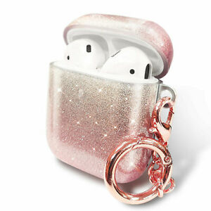 For Apple AirPods / AirPods Pro Case Cute Bling Glitter Cover + Keychain Clip