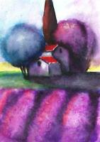 ACEO surreal Italy landscape abstract fantasy original painting art