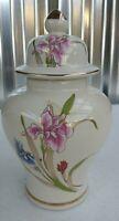 """Japan Porcelain Ginger Jar Vase Urn w/ Lid Hand Painted lilly Gold Trim 8"""""""