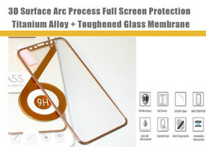 For iPhone X 3D Full Cover Tempered Glass Screen Protector Metal Edge Glass Gold