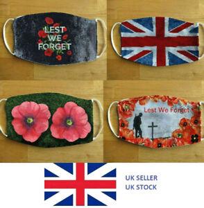 Face Mask Poppy Veteran War Remembrance 8 Designs Reusable VE Day Face Cover
