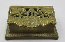 Antique Victorian Brass Stamp Holder Decorative Desktop Paper Weight