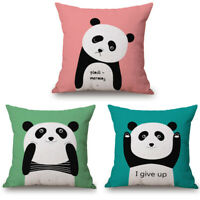 Panda Cotton Linen Car Sofa Decor Throw Waist Cushion Pillow Case Cover 18inch