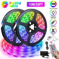 Led Strip Light 50Ft RGB 450Leds Room Lights 5050 SMD Tape Remote Color Changing