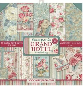 """Stamperia Double-Sided Paper Pad 12""""X12"""" 10/Pkg-Grand Hotel, 10 Designs/1 Each"""