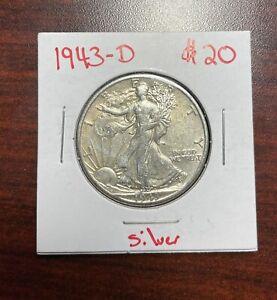 1943-D SILVER WALKING LIBERTY HALF DOLLAR