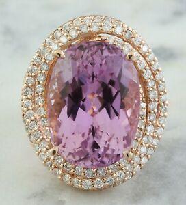 19.35 Carat Natural Kunzite 14K Solid Rose Gold Luxury Diamond Ring