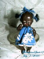 Antique 1930's Japan African American Jointed Arms & Legs Bisque 4'' Doll