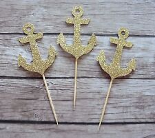 10 Anchor Cupcake Toppers - GOLD Nautical Birthday Baby Bridal Shower, Wedding