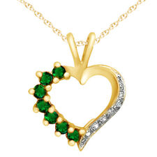 18K Gold Over Sterling Silver Emerald Heart Pendant With Diamond