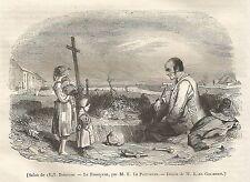 A5102 Karl Girardet - Il Becchino - Xilografia - Stampa antica del 1843