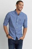 American Eagle Outfitters Sz S Mens Casual Button Down Shirt Light Blue Striped