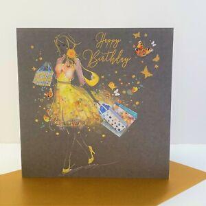Cherry Orchard Female Happy Birthday Card Yellow Dress Shopping/EL014
